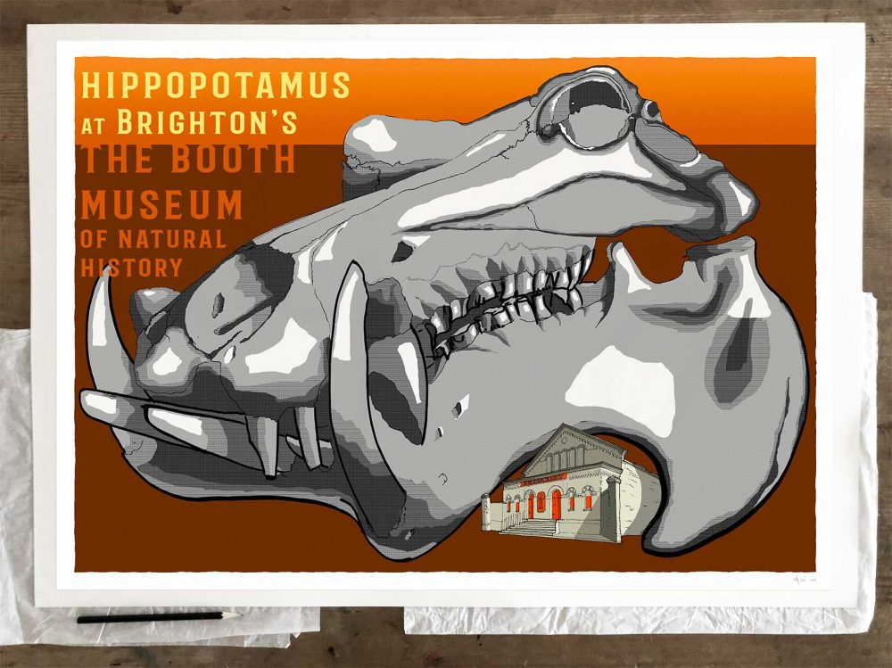 Fine art print by artist alej ez titled SK Hippopotamus at The Booth Museum