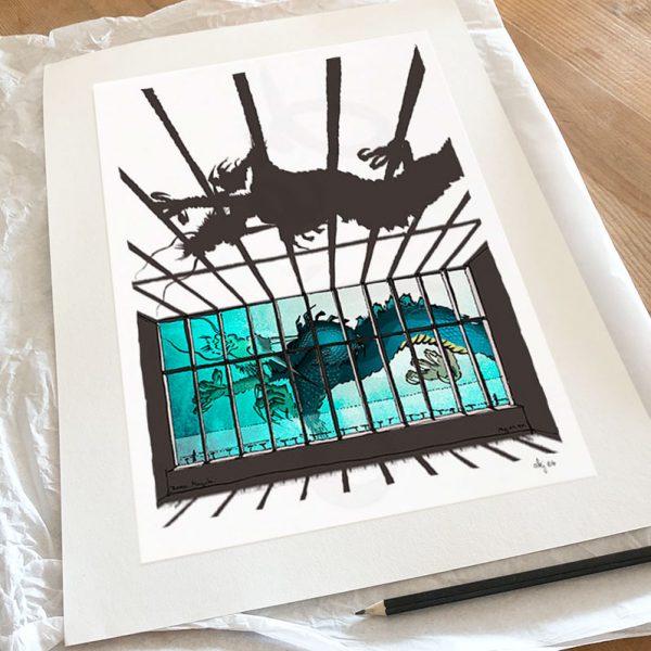 Fine art print by artist alej ez titled Turner Contemporary, glazed gallery, Chinoiseriez Dragon