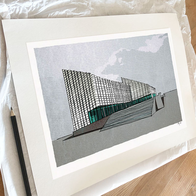 Fine art print by artist alej ez titled Rainy day at The Turner Contemporary, Margate