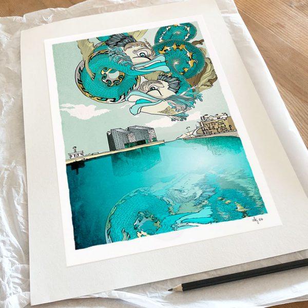 Fine art print by artist alej ez titled Turner Contemporary, Margate, Mythological Dolphins