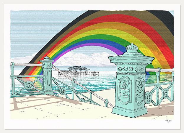 art print tittled West Pier Rainbow. 2020 Rainbow Fund by artist alej ez