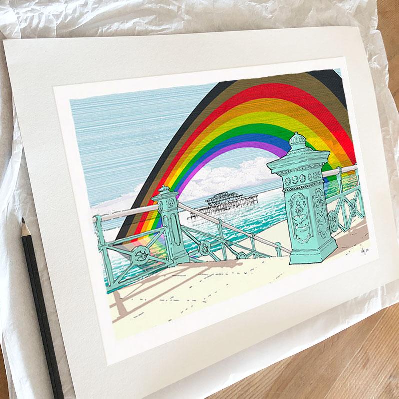 Fine art print by artist alej ez titled West Pier Rainbow. 2020 Rainbow Fund Edition Print