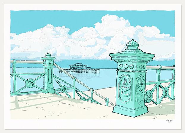 art print titled West Pier irons by artist alej ez