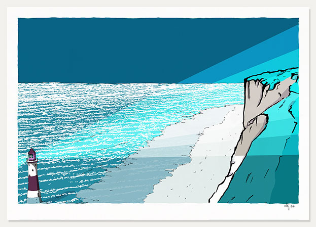 art print titled Beachy Head Lighthouse Blue Night by artist alej ez