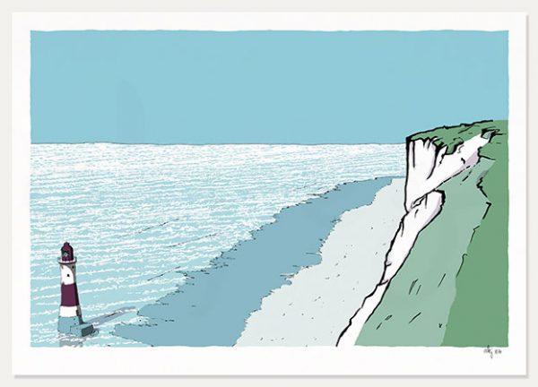 art print Beachy Head Lighthouse Chalk Cliffs by artist alej ez