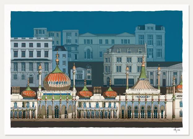 art print titled Brighton Pavilion Steine Gardens Scene Ocean Blue by artist alej ez