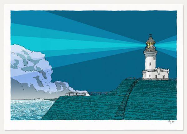 art print titled Cape Byron Lighthouse Blue Night by artist alej ez