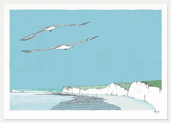 art print Chalk'n Flint Flying Chalk Cliffs by artist alej ez