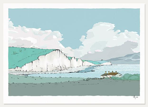 art print Coastguard Cottages Cuckmere Chalk Cliffs by artist alej ez