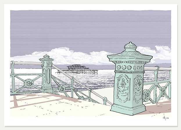 art print titled Down the Steps towards the West Pier by artist alej ez