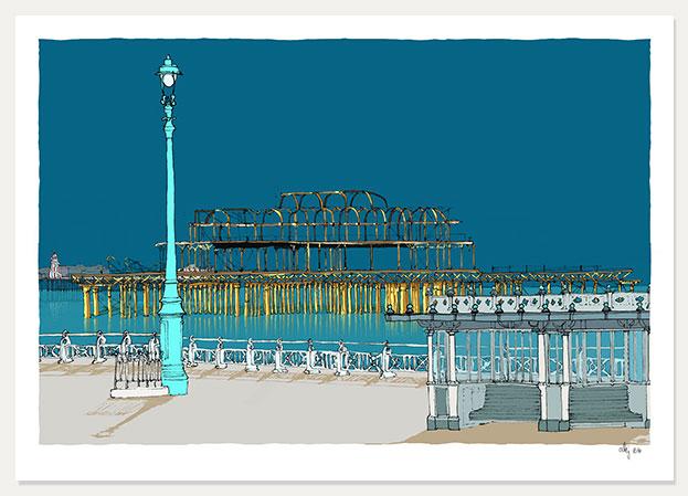 art print titled Hove Esplanade Two Piers Ocean Ocean Blue by artist alej ez