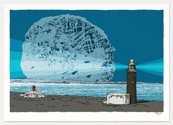 art print Lymington Lighthouse Blue Night by artist alej ez