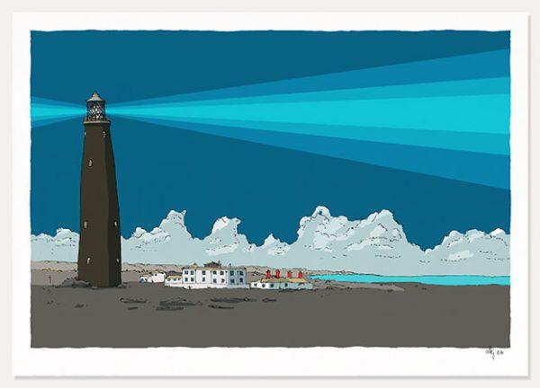 art print titled Old Lighthouse Rye Pier Blue Night by artist alej ez