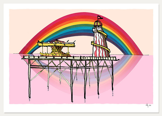 art print titled Rainbow over the Helter Skelter Brighton Palace Pier by artist alej ez