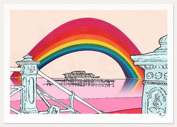 art print titled Rainbow over the West Pier Brighton by artist alej ez