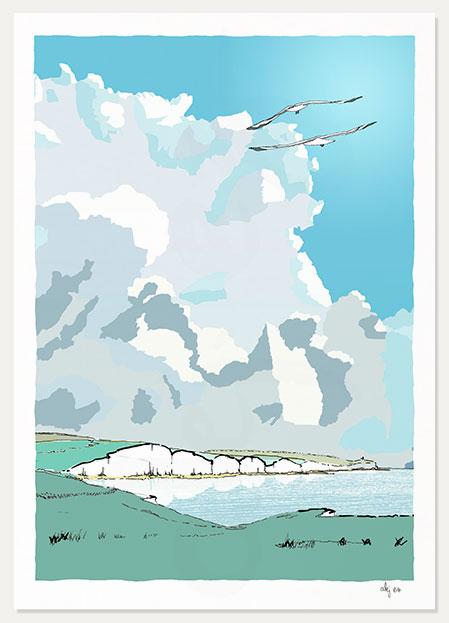 print titled Seven Sisters Chalk Cliffs by artist alej ez