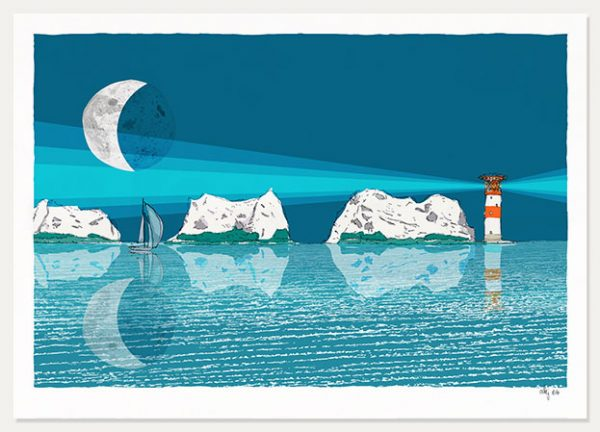 art print titled The Needles and the Moon Blue Night by artist alej ez