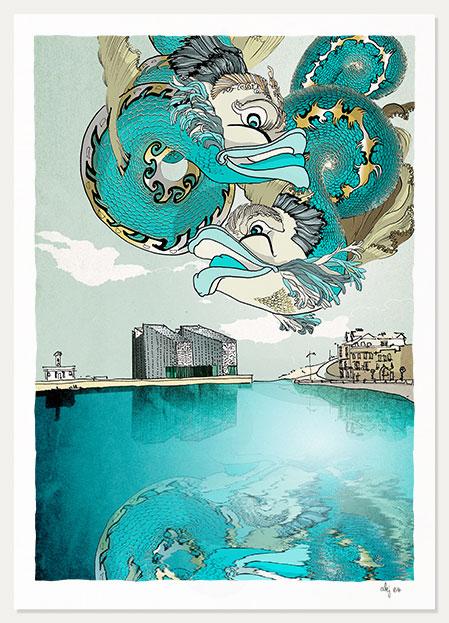 art print by artist alej ez titled Turner Contemporary, Margate, Mythological Dolphins