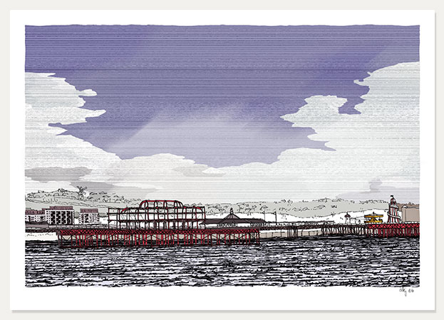 art print titled West Pier and Palace Pier at Sea by artist alej ez