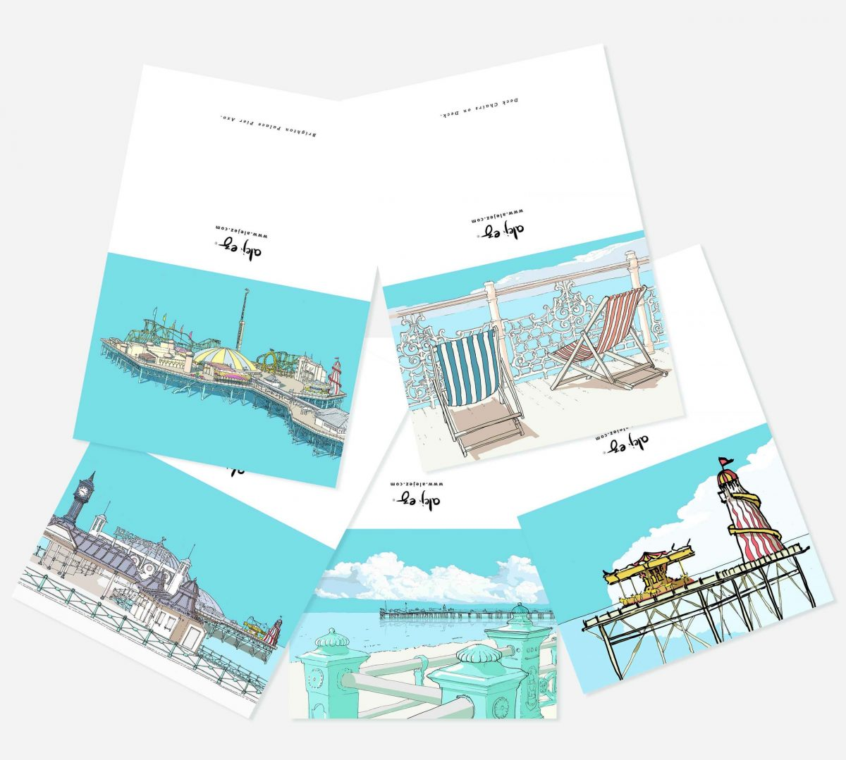 Greeting cards set notelets notecards blank cards Brighton