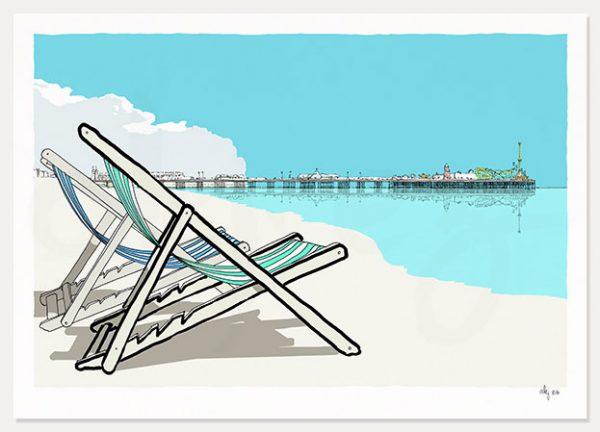 art print titled Deck Chairs Brighton Pier by artist alej ez