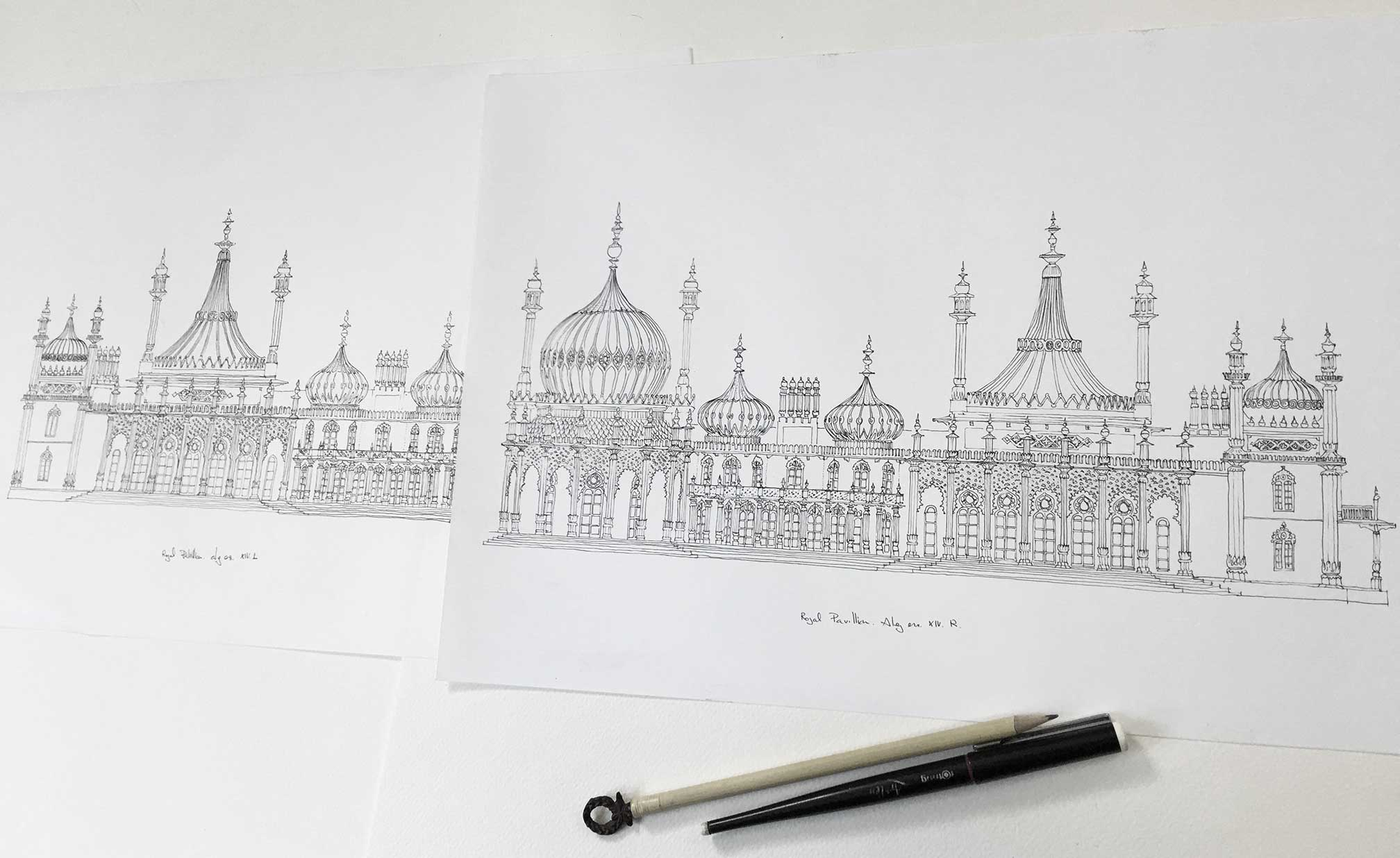 base ink drawing for print named Brighton Royal Pavilion Life by artist alej ez