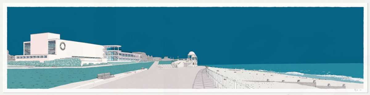 print named De la Warr Pavilion Bexhill on Sea Ocean Blue by artist alej ez