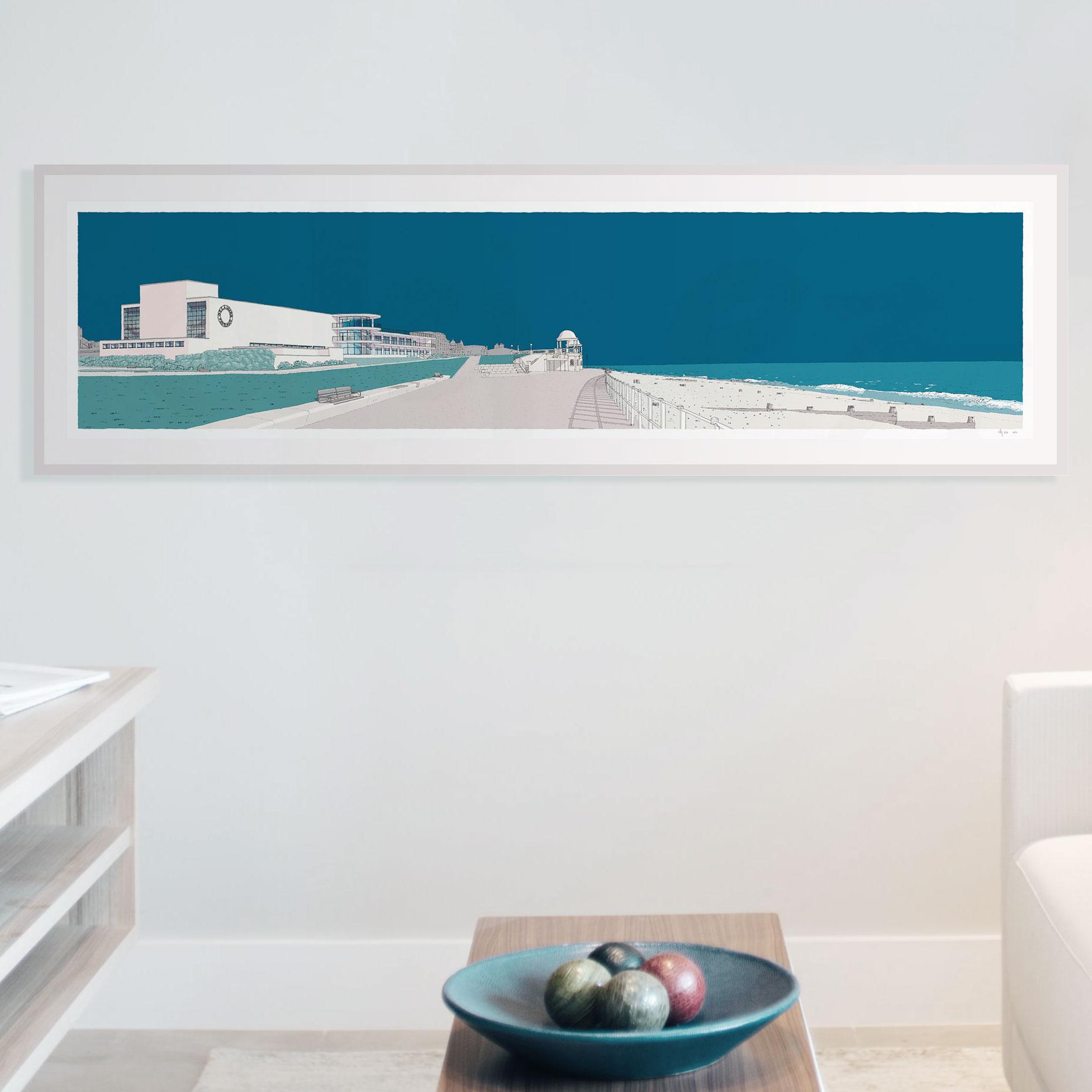 framed art print by artist alej ez named De la Warr Pavilion Bexhill on Sea Ocean Blue