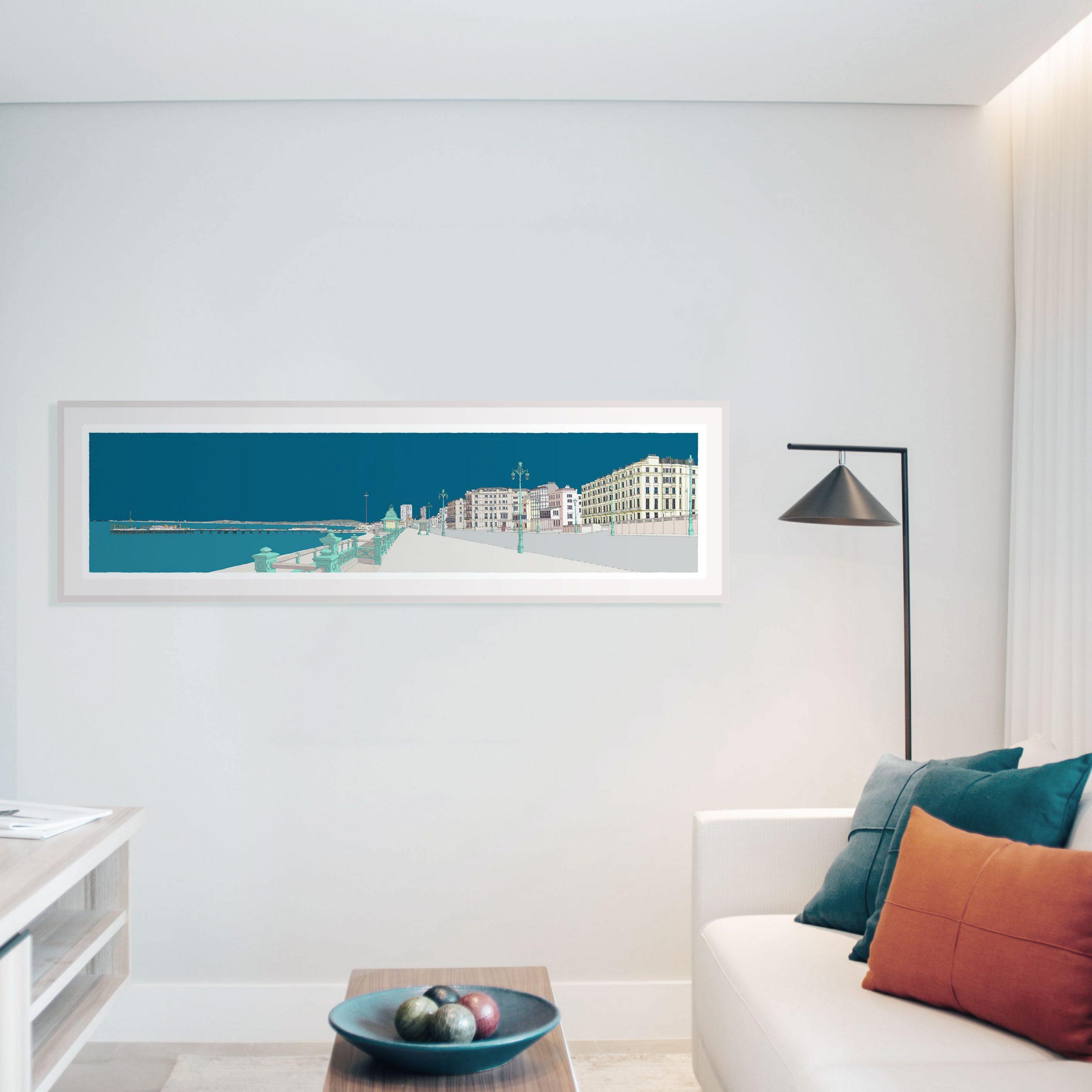 'Kemptown Brighton Promenade Ocean Blue'. Panoramic art print framed