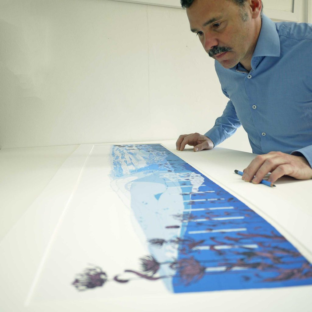 inspection of Panoramic print named Round Headed Rampion, Pride of Sussex Winter by artist alej ez