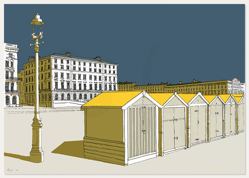 print named Beach Huts by Palmeira and Adelaide by artist alej ez