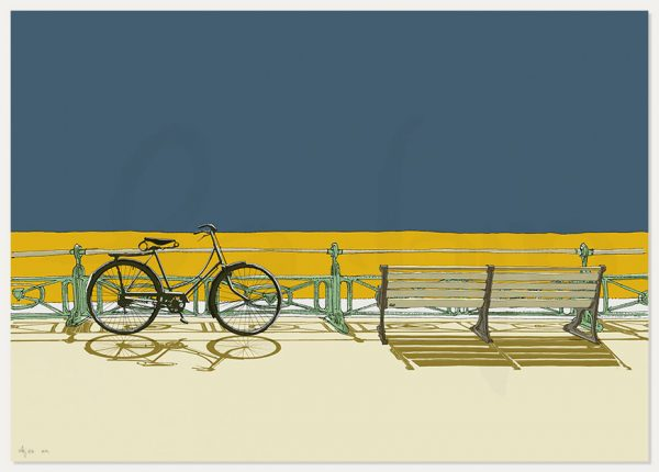 print named Bicycle and bench, Brighton Seafront by artist alej ez
