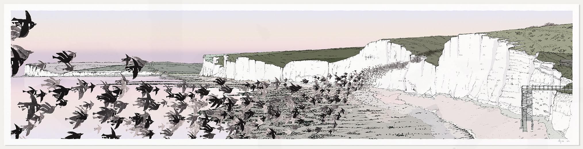 print named Birling Gap Starling Murmuration Eventide by artist alej ez