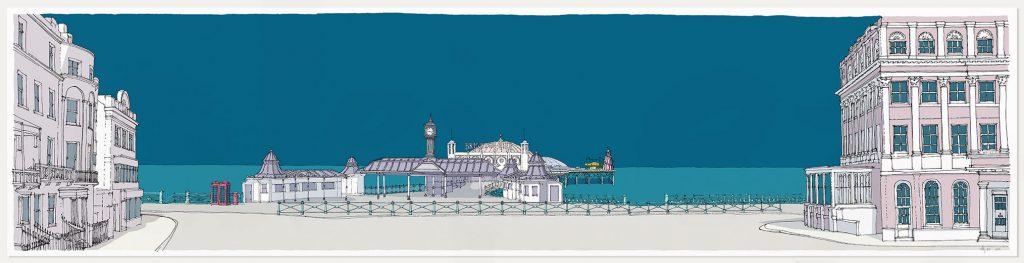print named Brighton City Pier Ocean Blue by artist alej ez