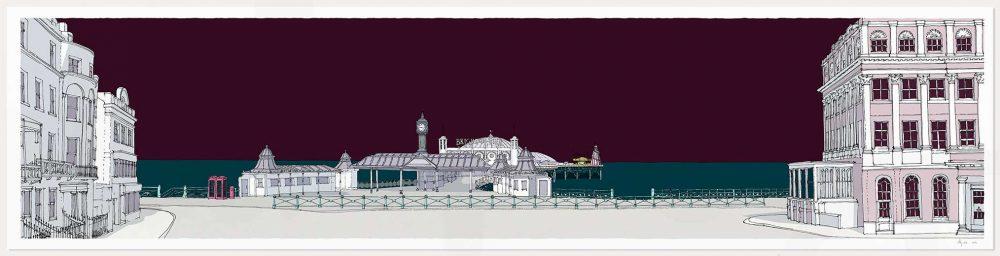 print named Brighton City Pier Mauve Sky by artist alej ez