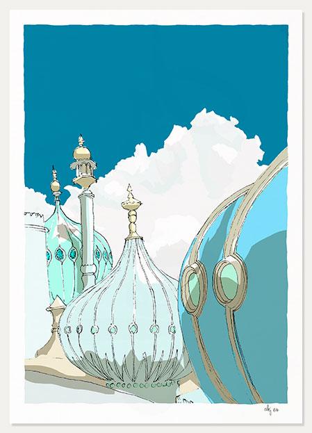 art print titled Brighton Pavilion Domes Ocean Blue by artist alej ez