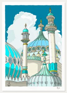 art print titled Brighton Pavilion Finials and Domes Ocean Blue by artist alej ez