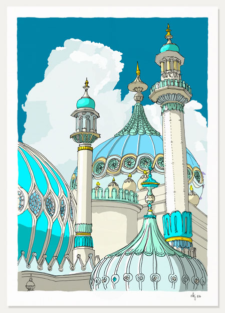 art print titled Brighton Pavilion Finials and Domes Ocean Blue by artist alej ez