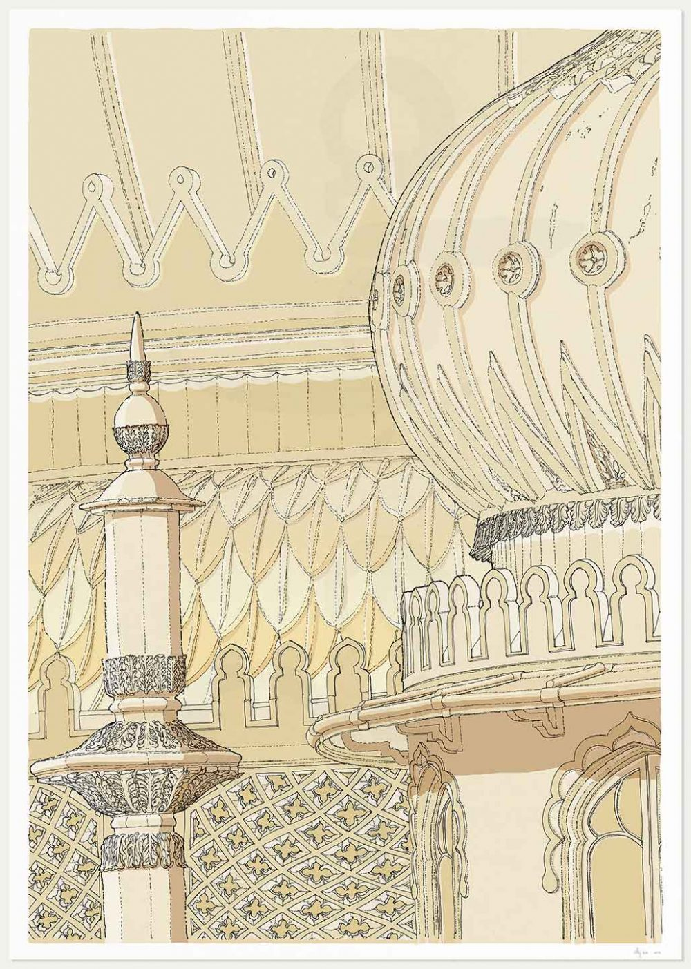 print named Brighton Pavilion Finial and Domes Pearl by artist alej ez