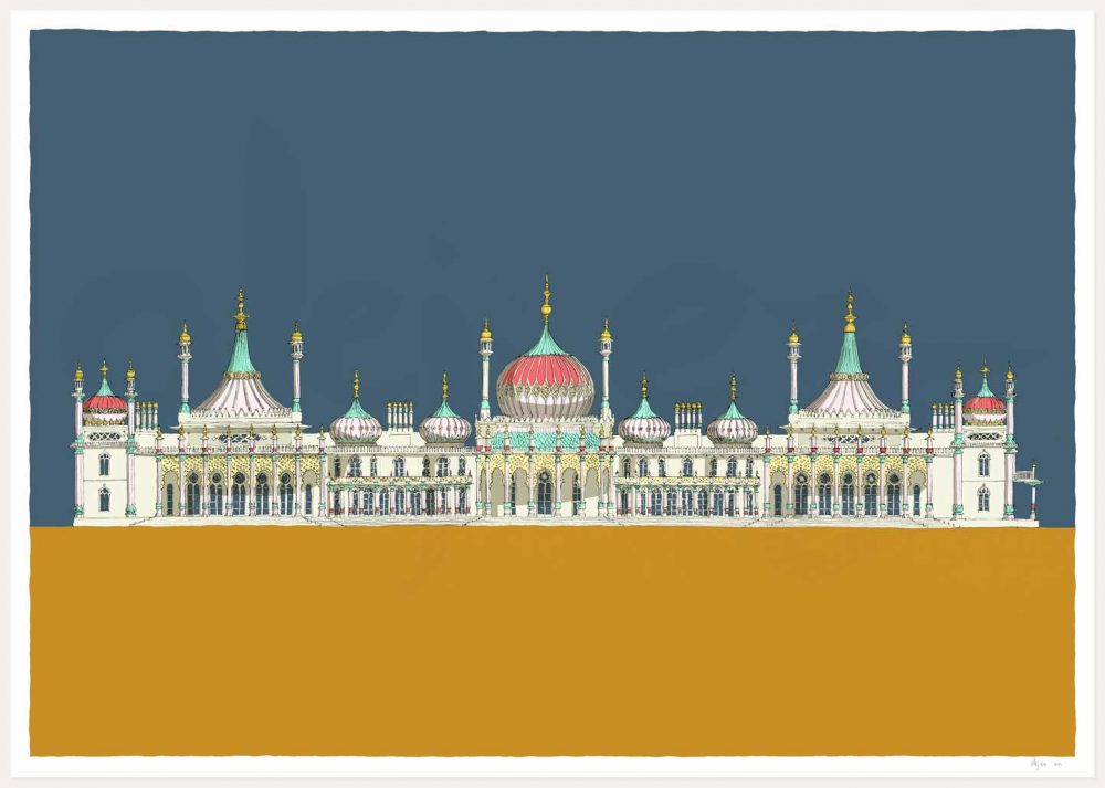 print named Brighton Royal Pavilion Antique Blue and Ochre by artist alej ez