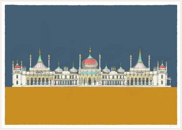 print named Brighton Royal Pavilion Antique Blue and Ochre by artist alej ez