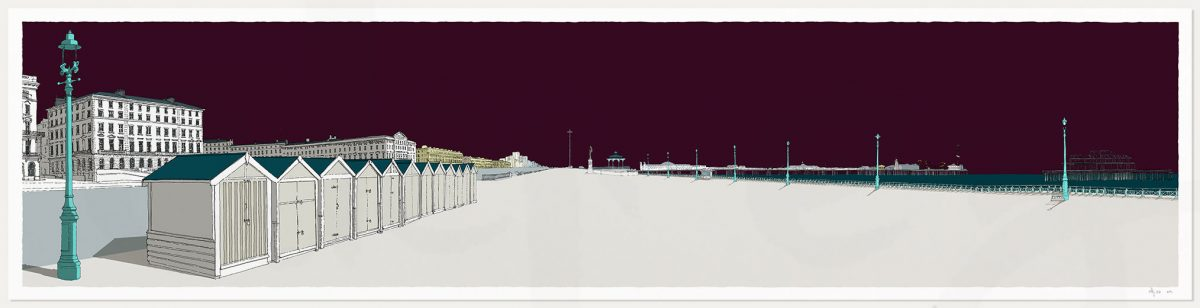 print named Palmeira Brunswick and the Two Piers Mauve Sky by artist alej ez