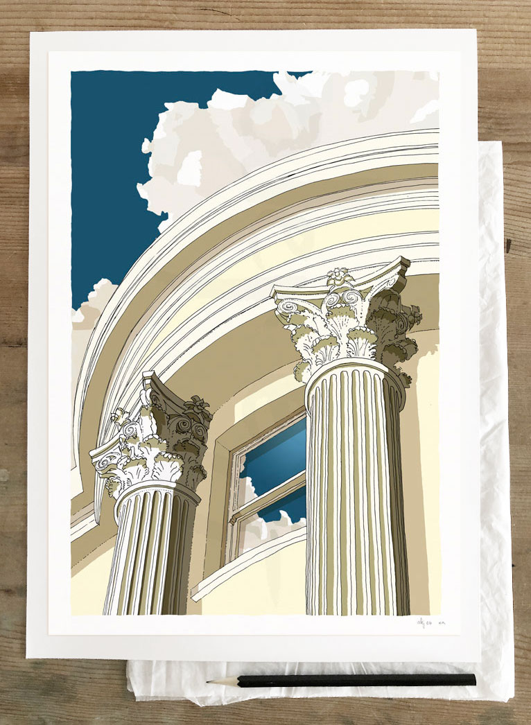 Fine art print by artist alej ez titled Brunswick Square Window Corinthian columns