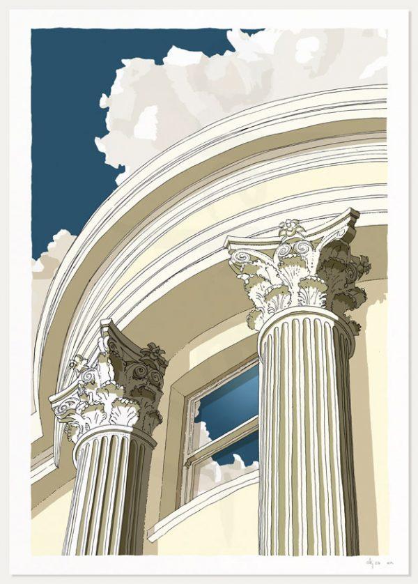 Print named Brunswick Square Window Corinthian columns by artist alej ez