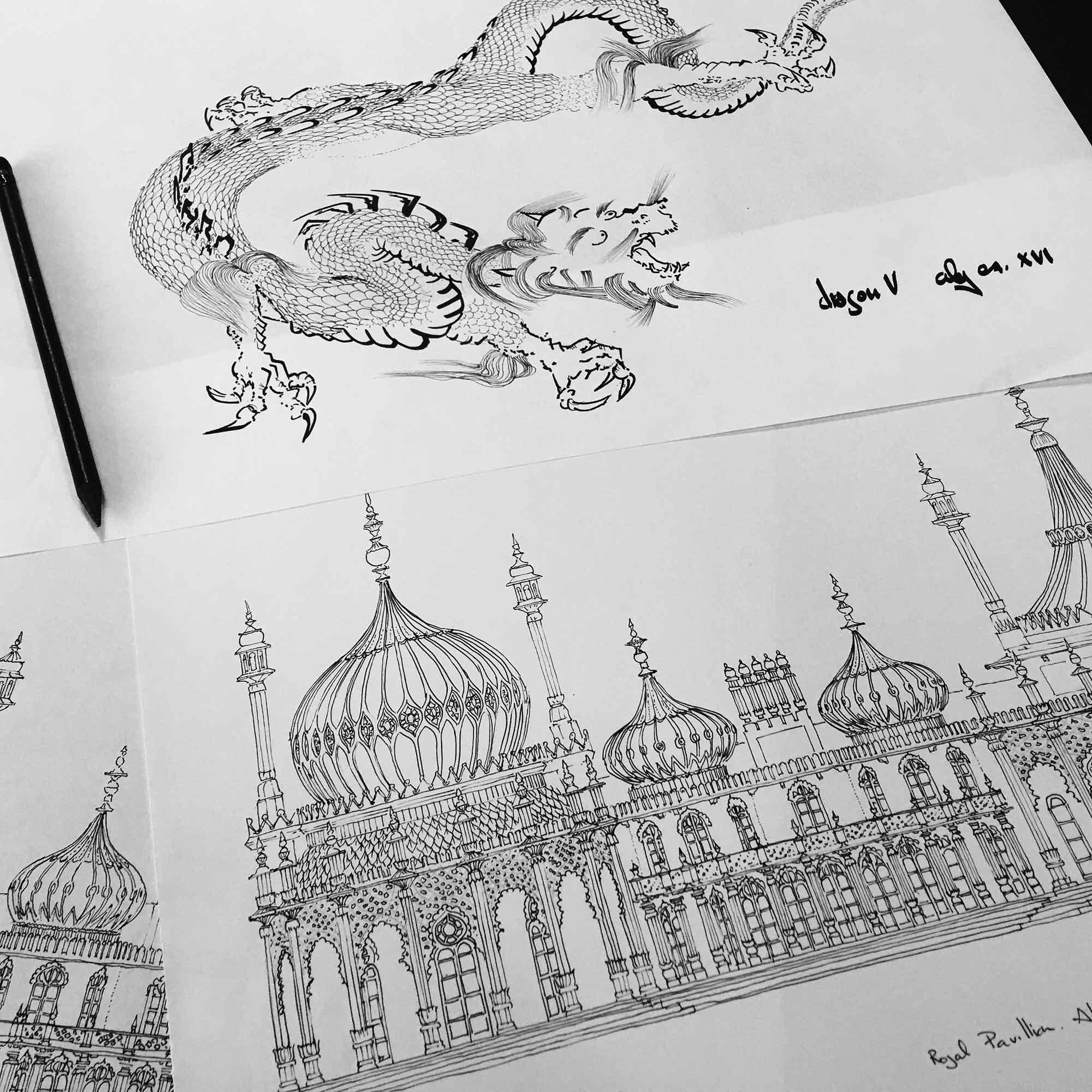 base drawings for print named Chinoiseriez Life Joy by artist alej ez