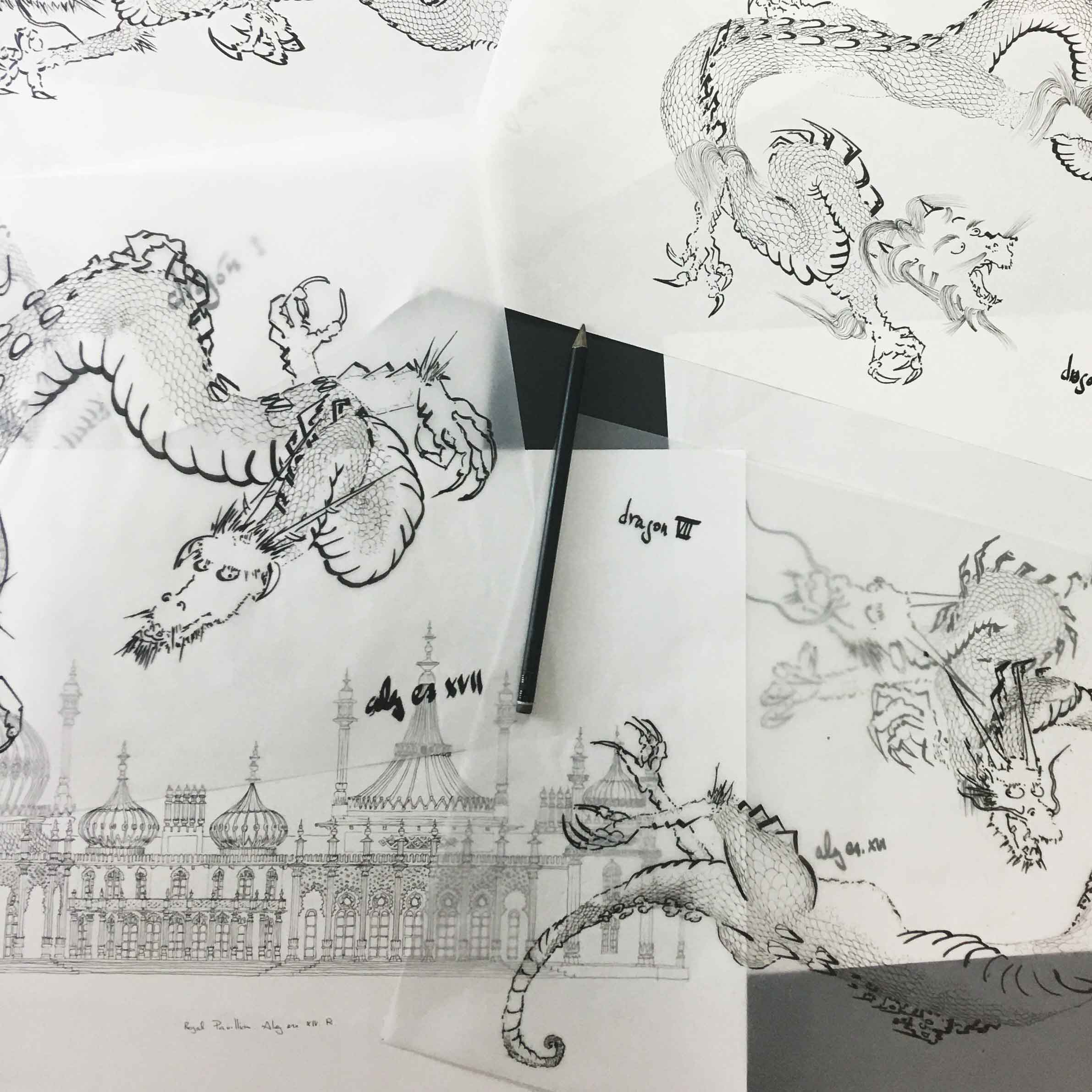 base drawing for print named Chinoiseriez by artist alej ez deptics dragons flying over the Royal Pavilion in Brighton