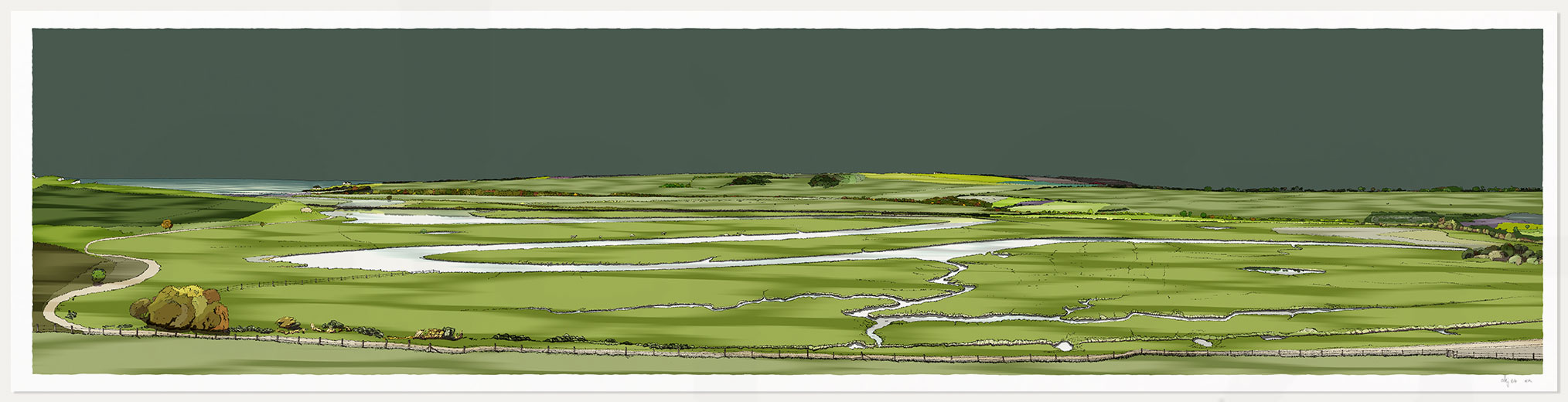 print anemd Cuckmere Haven Valley Emerald Skies by artist alej ez