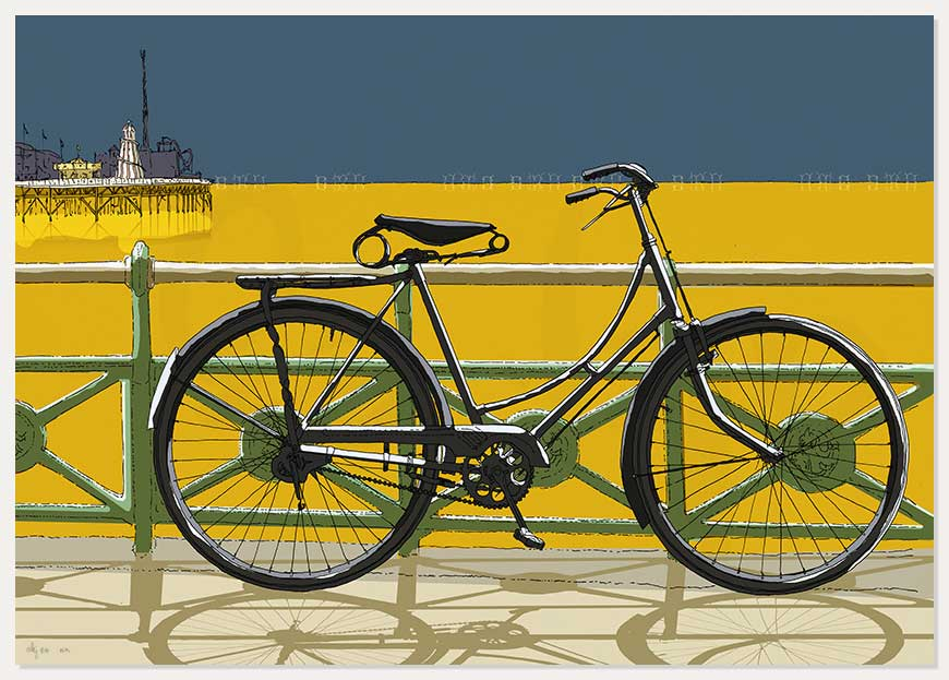 print named Cycling to the Palace Pier by artist alej ez