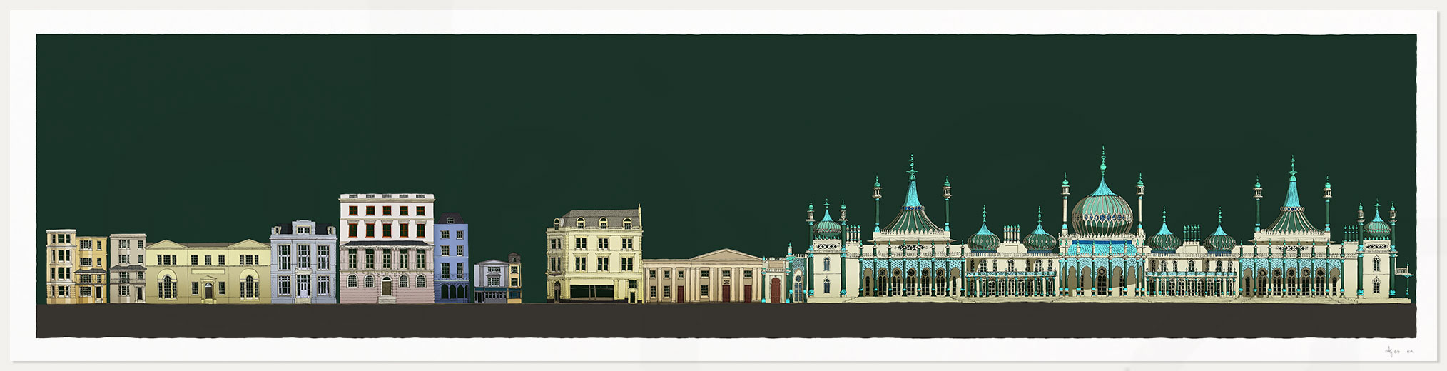 print named Hers and His Fitzherbert and George IV Brighton Pavilion Emerald Skies by artist alej ez