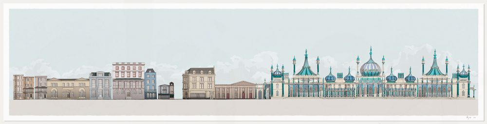 Print named Hers and His Fitzherbert and George IV Brighton Pavilion Pebble Beach by artist alej ez